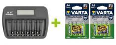 OXE Nabíječka baterií AA / AAA na 6 ks, s displejem a 8 ks nabíjecích baterií Varta 56706 R6 2100mAh NIMH basic